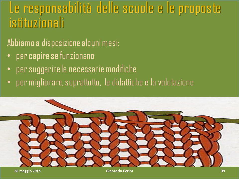 Le responsabilità delle scuole e le proposte istituzionali