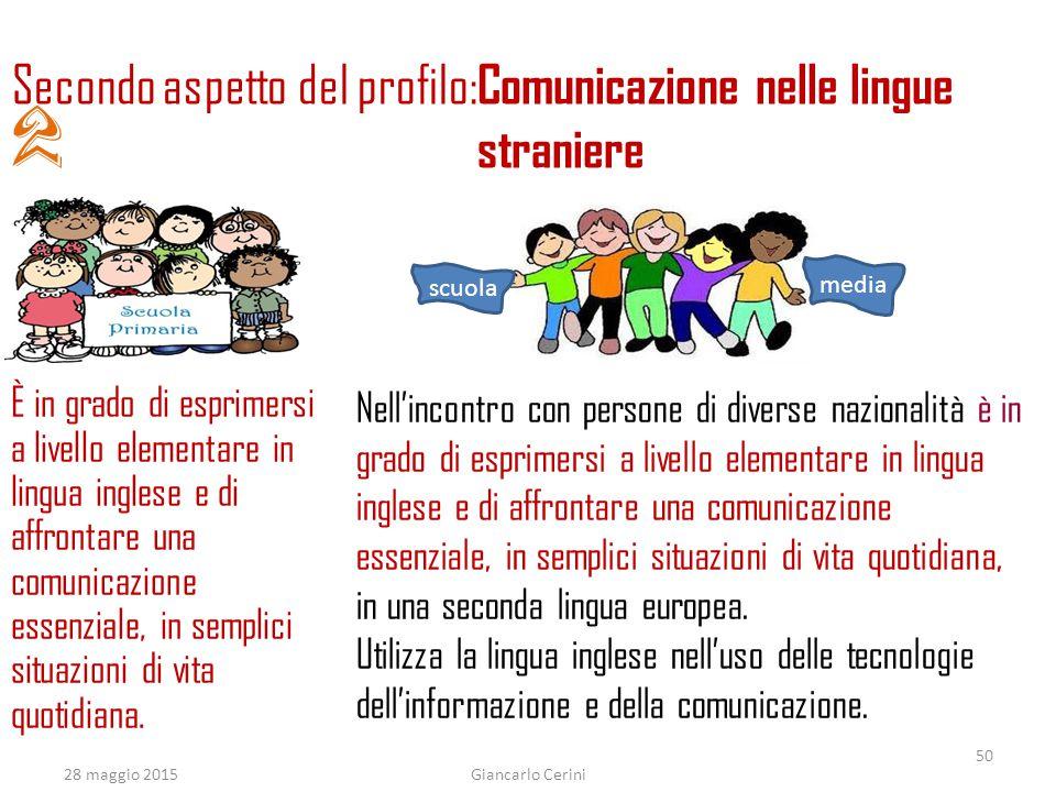 2 Secondo aspetto del profilo: Comunicazione nelle lingue straniere