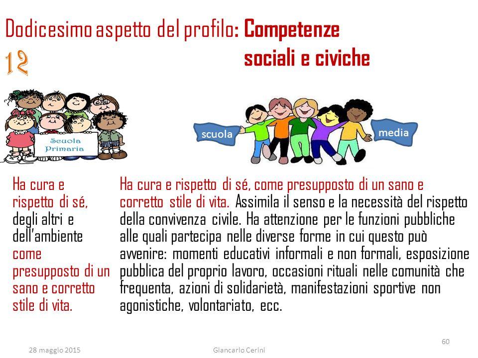 12 Dodicesimo aspetto del profilo: Competenze sociali e civiche