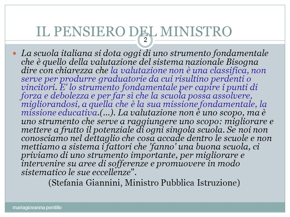 IL PENSIERO DEL MINISTRO