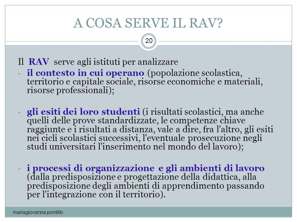 A COSA SERVE IL RAV Il RAV serve agli istituti per analizzare