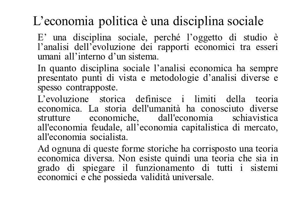 L'economia politica è una disciplina sociale