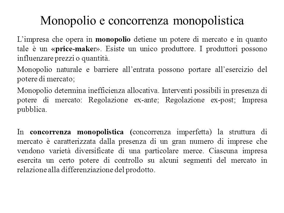 Monopolio e concorrenza monopolistica