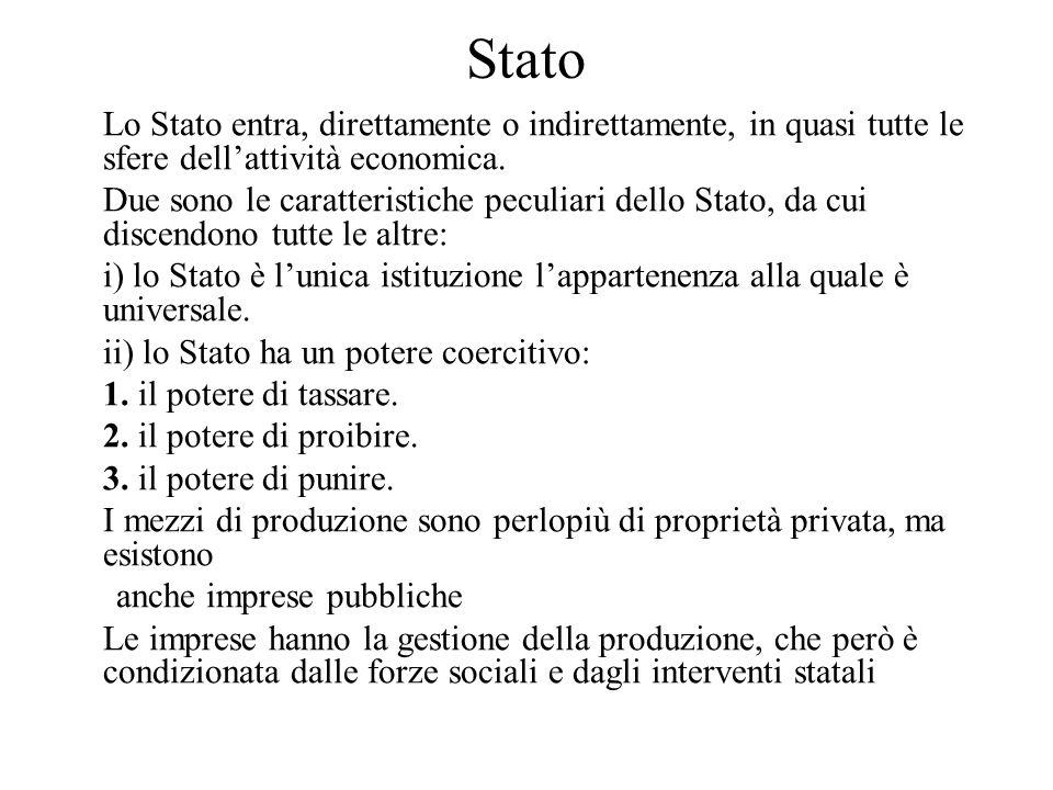 Stato Lo Stato entra, direttamente o indirettamente, in quasi tutte le sfere dell'attività economica.