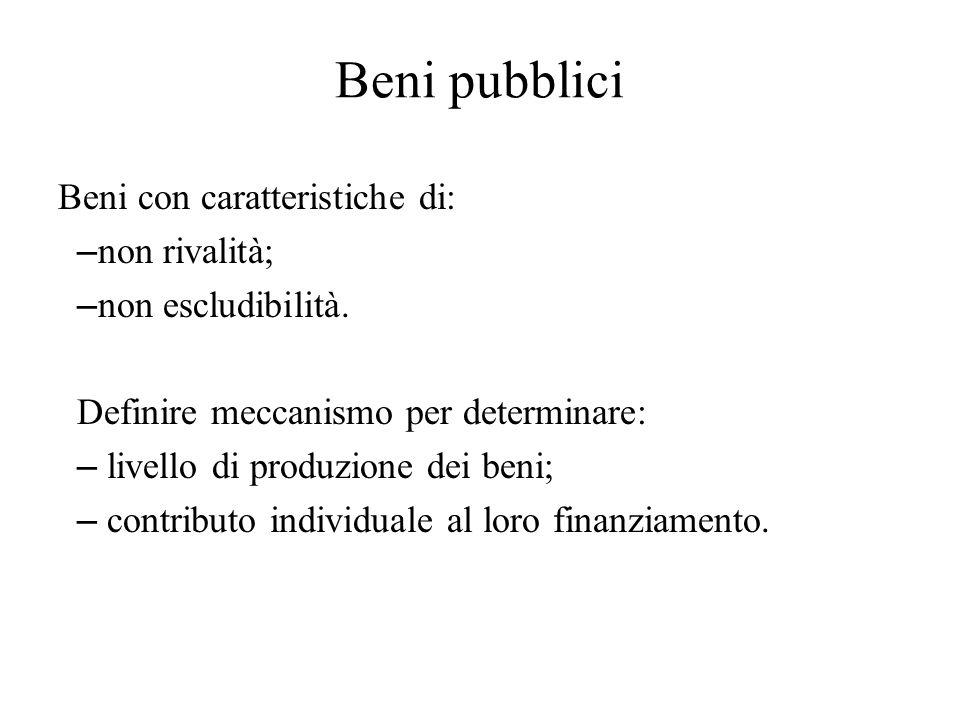 Beni pubblici Beni con caratteristiche di: non rivalità;