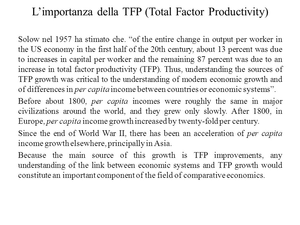L'importanza della TFP (Total Factor Productivity)