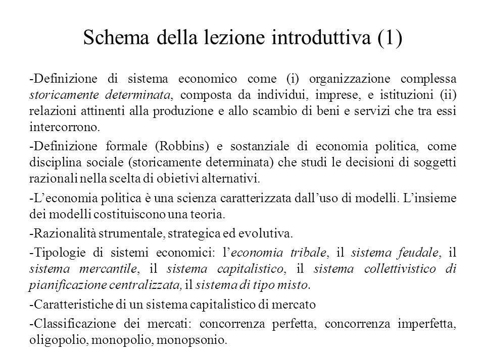 Schema della lezione introduttiva (1)