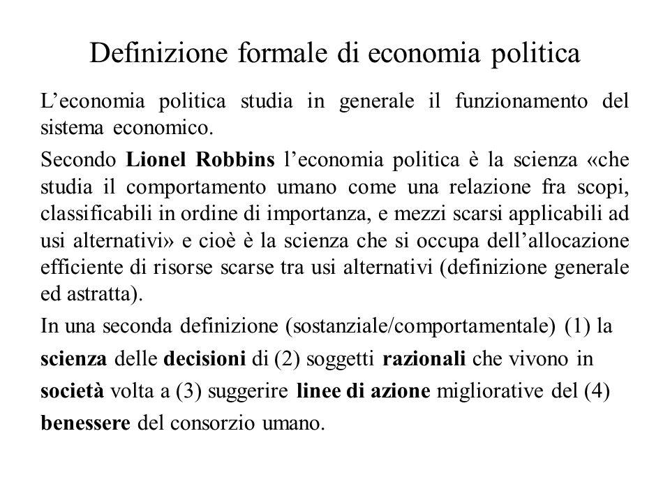 Definizione formale di economia politica