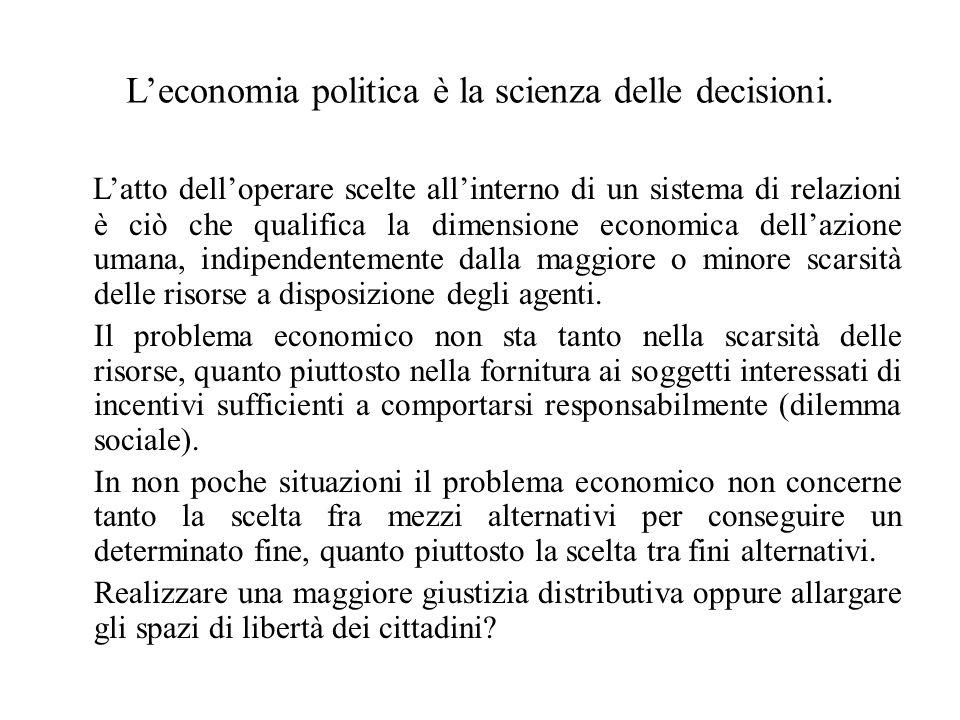 L'economia politica è la scienza delle decisioni.