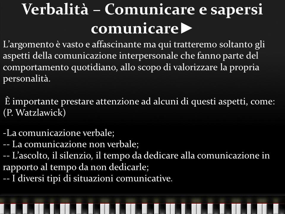 Verbalità – Comunicare e sapersi comunicare►