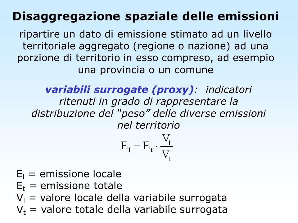 Disaggregazione spaziale delle emissioni
