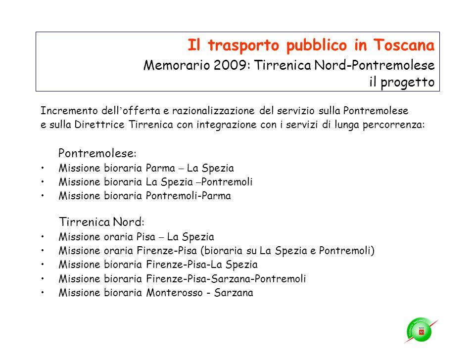 Il trasporto pubblico in Toscana Memorario 2009: Tirrenica Nord-Pontremolese il progetto