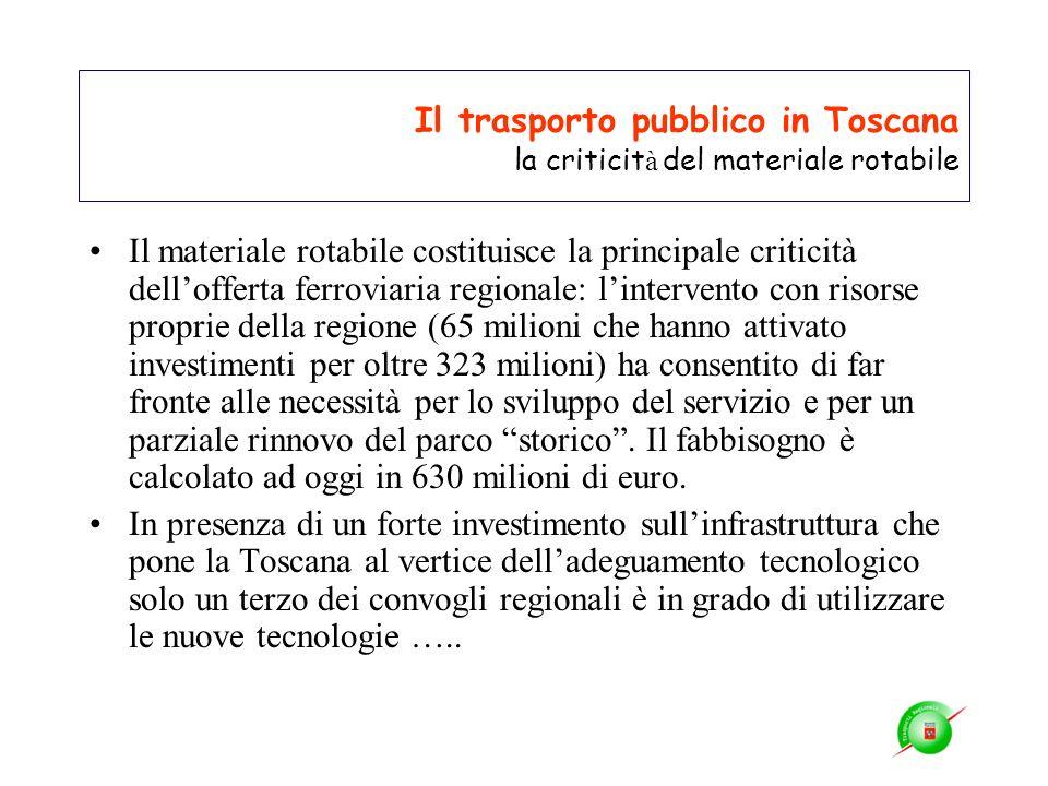 Il trasporto pubblico in Toscana la criticità del materiale rotabile