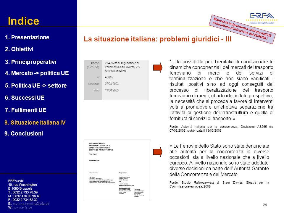 Indice La situazione italiana: problemi giuridici - III