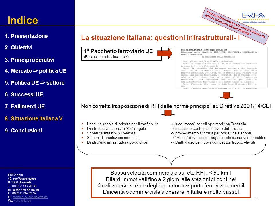 Indice La situazione italiana: questioni infrastrutturali- I