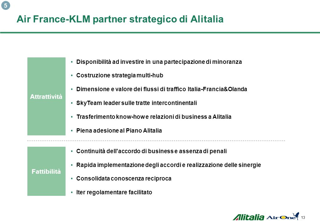 Air France-KLM partner strategico di Alitalia