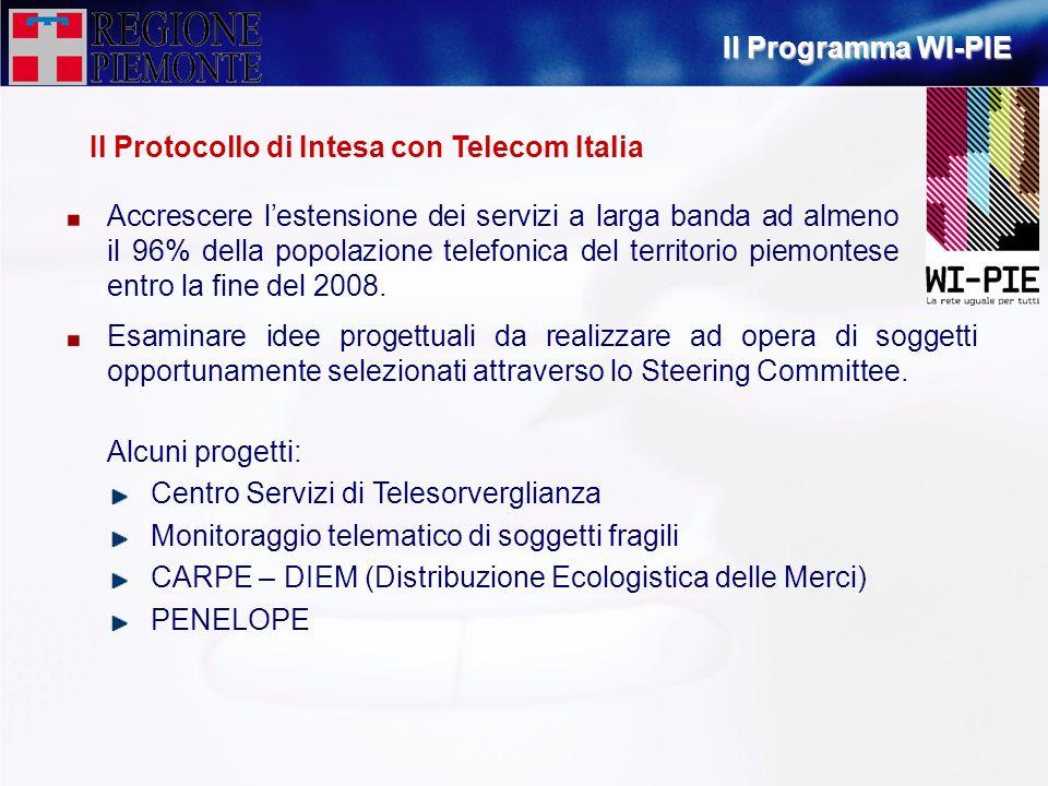 Il Programma WI-PIE Il Protocollo di Intesa con Telecom Italia.