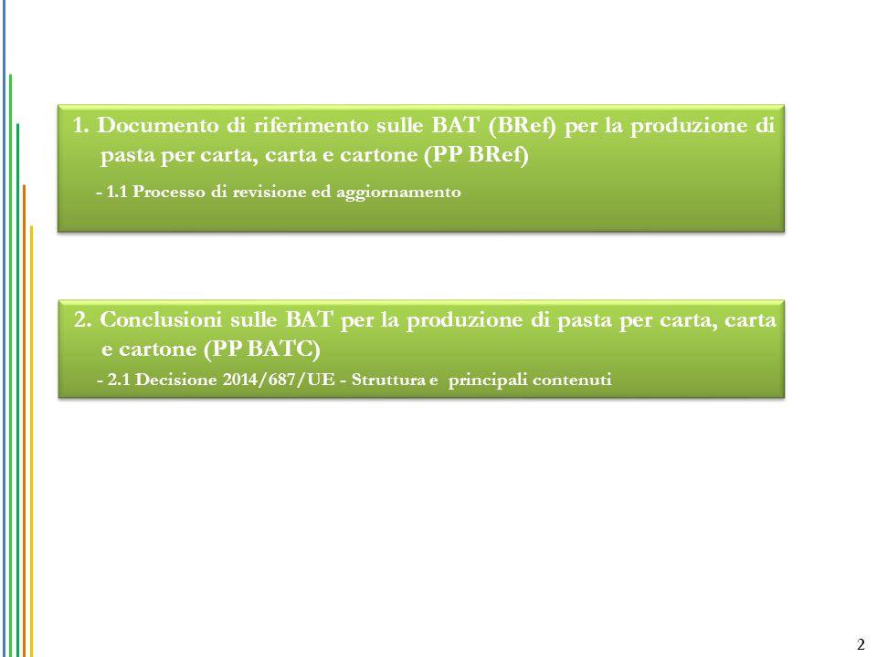 1. Documento di riferimento sulle BAT (BRef) per la produzione di pasta per carta, carta e cartone (PP BRef)
