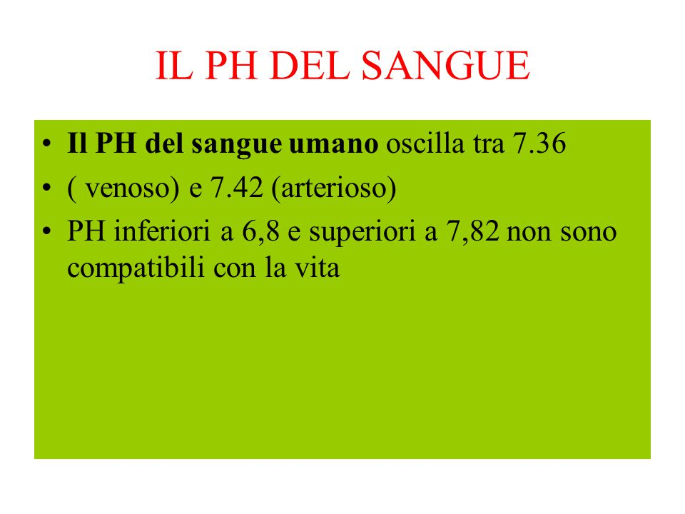 IL PH DEL SANGUE Il PH del sangue umano oscilla tra 7.36