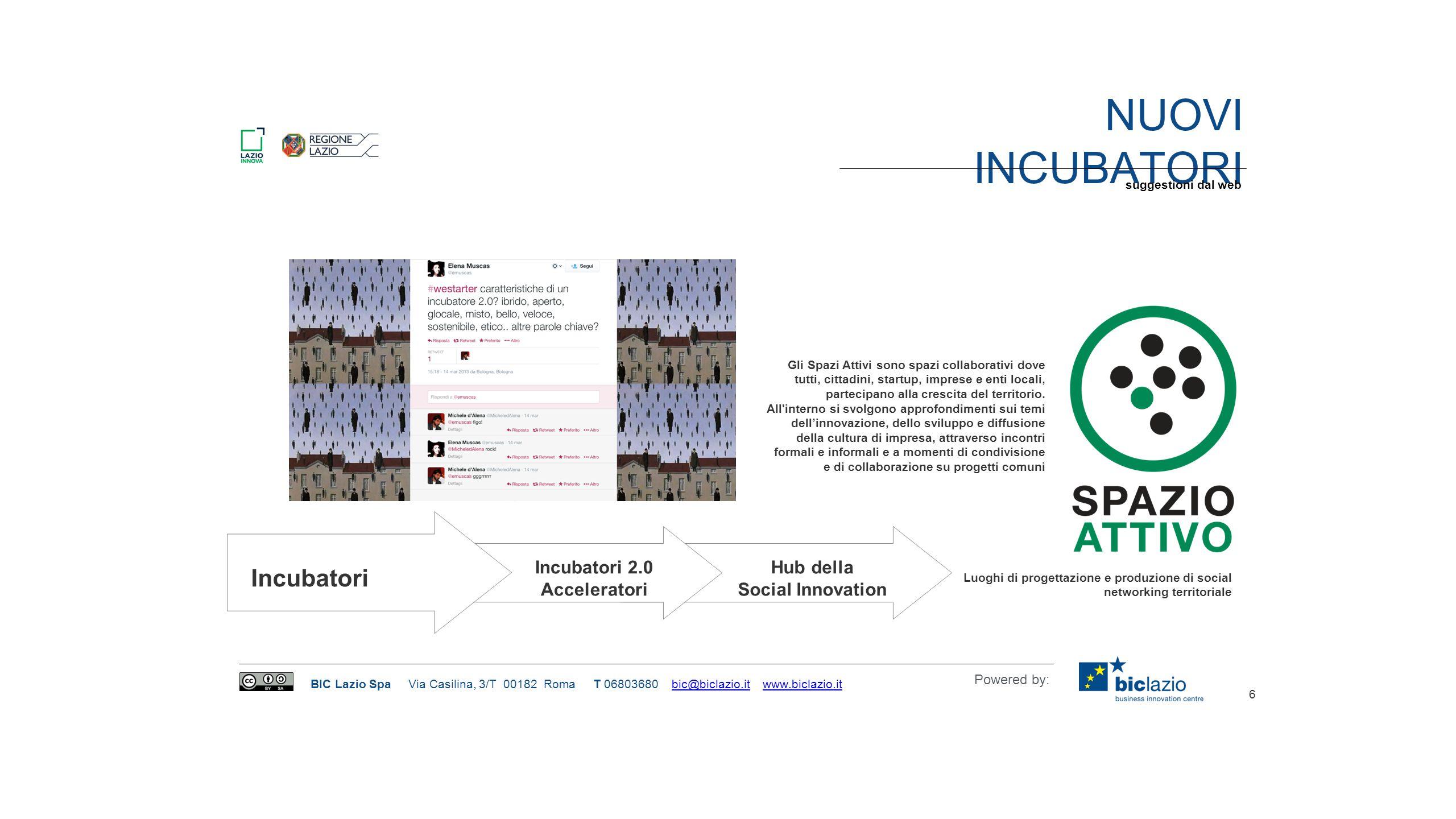 Nuovi incubatori Incubatori Hub della Incubatori 2.0 Social Innovation