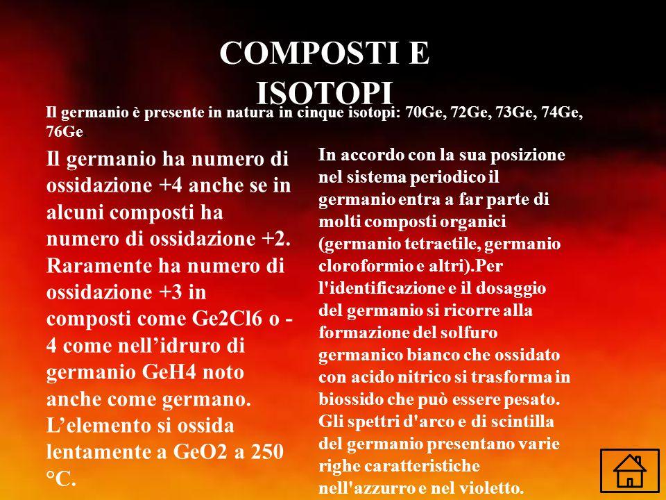 COMPOSTI E ISOTOPI Il germanio è presente in natura in cinque isotopi: 70Ge, 72Ge, 73Ge, 74Ge, 76Ge.