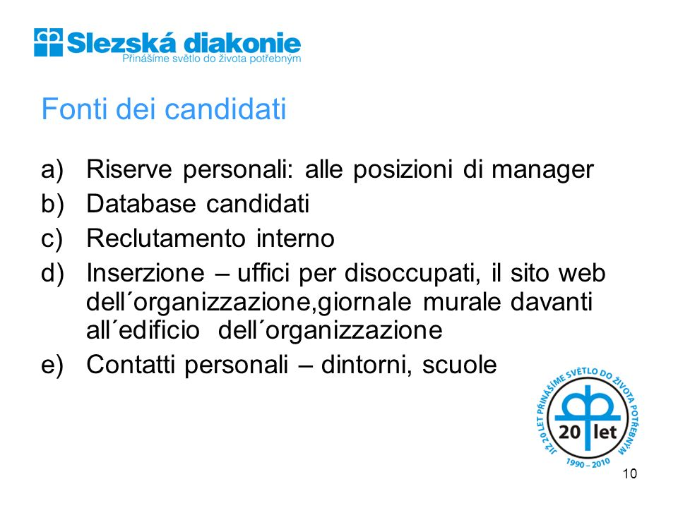 Fonti dei candidati Riserve personali: alle posizioni di manager