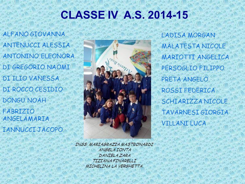CLASSE IV A.S. 2014-15 ALFANO GIOVANNA LADISA MORGAN ANTENUCCI ALESSIA