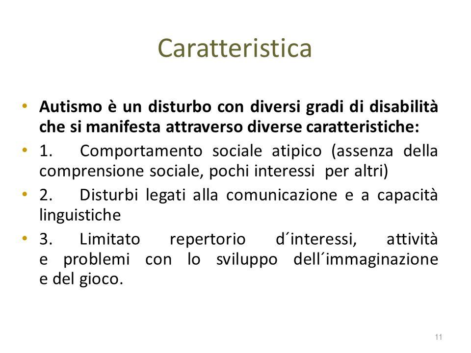 Caratteristica Autismo è un disturbo con diversi gradi di disabilità che si manifesta attraverso diverse caratteristiche: