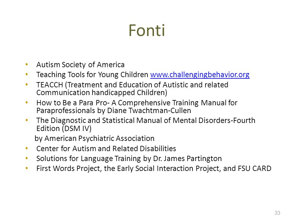 Fonti Autism Society of America