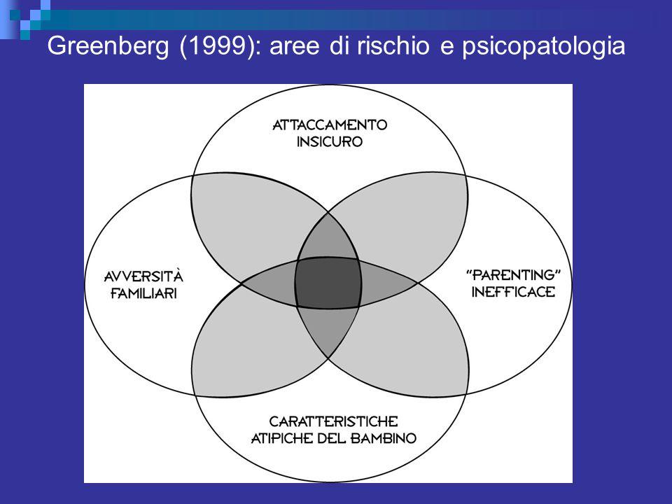 Greenberg (1999): aree di rischio e psicopatologia