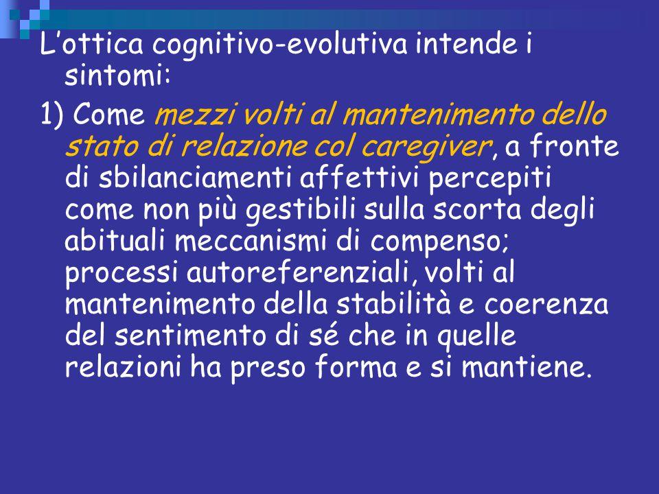 L'ottica cognitivo-evolutiva intende i sintomi: