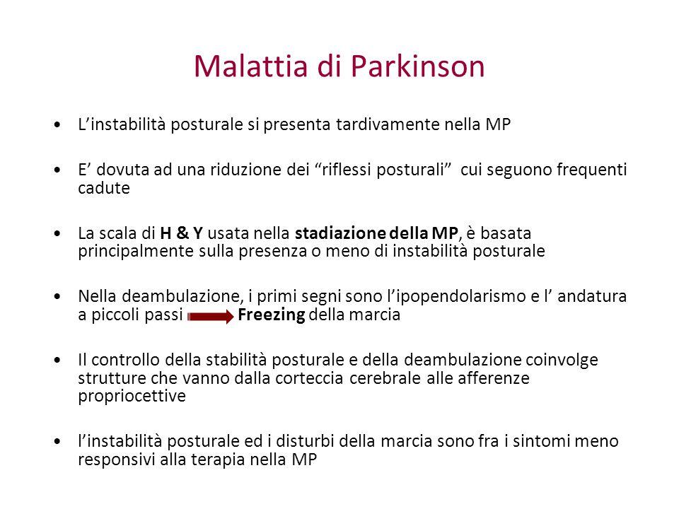 Malattia di Parkinson L'instabilità posturale si presenta tardivamente nella MP.