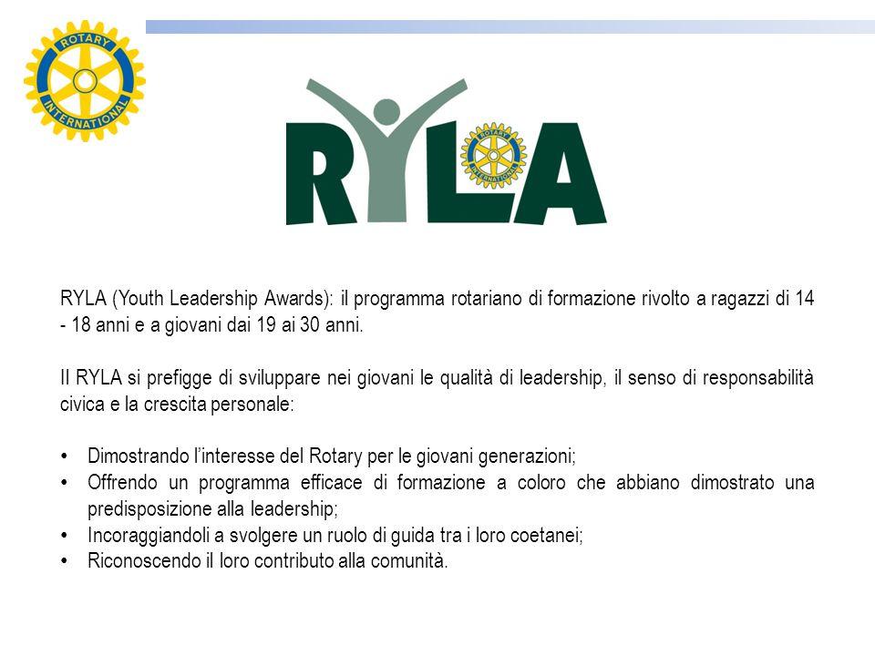 RYLA (Youth Leadership Awards): il programma rotariano di formazione rivolto a ragazzi di 14 - 18 anni e a giovani dai 19 ai 30 anni.