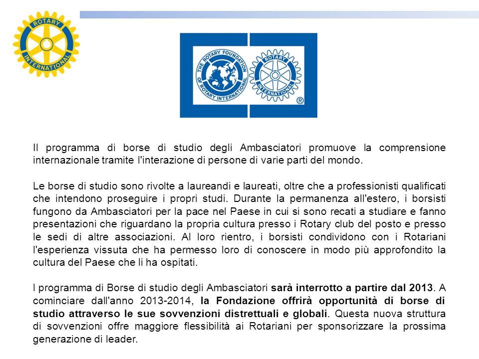 Il programma di borse di studio degli Ambasciatori promuove la comprensione internazionale tramite l interazione di persone di varie parti del mondo.