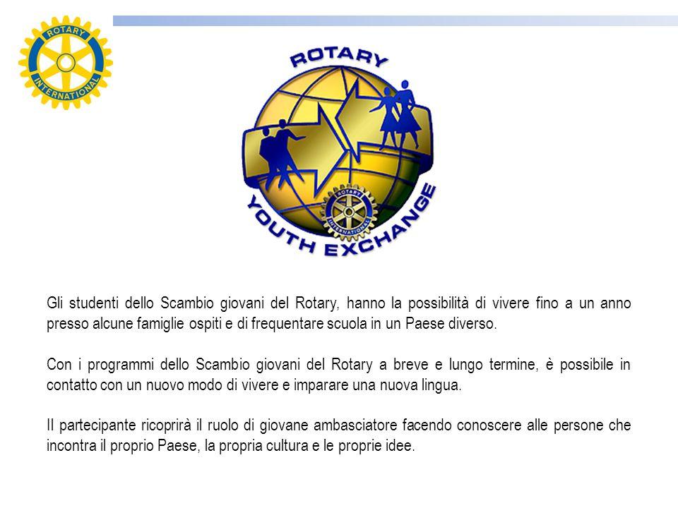 Gli studenti dello Scambio giovani del Rotary, hanno la possibilità di vivere fino a un anno presso alcune famiglie ospiti e di frequentare scuola in un Paese diverso.