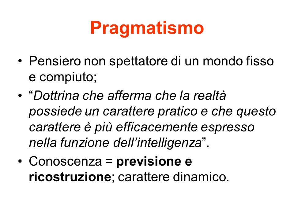 Pragmatismo Pensiero non spettatore di un mondo fisso e compiuto;