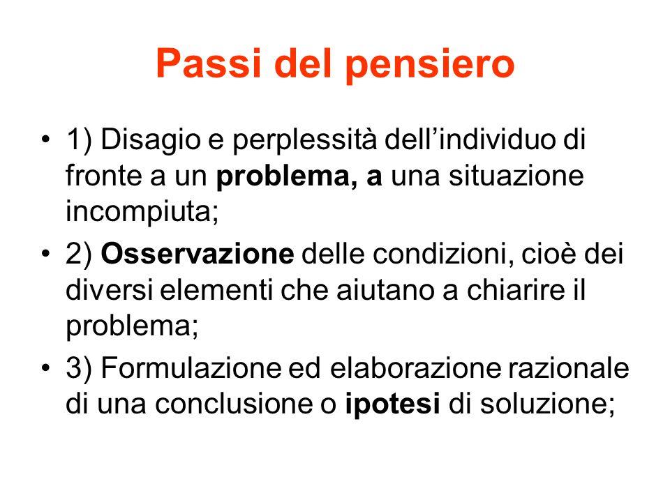 Passi del pensiero 1) Disagio e perplessità dell'individuo di fronte a un problema, a una situazione incompiuta;