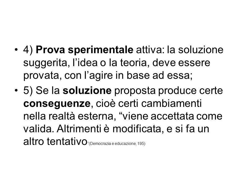 4) Prova sperimentale attiva: la soluzione suggerita, l'idea o la teoria, deve essere provata, con l'agire in base ad essa;