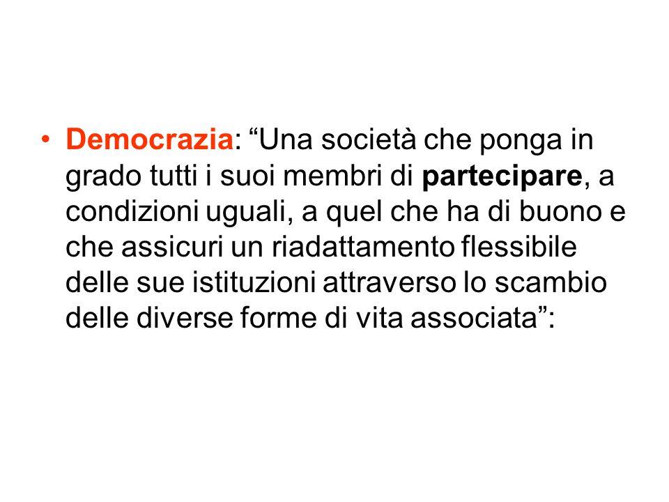 Democrazia: Una società che ponga in grado tutti i suoi membri di partecipare, a condizioni uguali, a quel che ha di buono e che assicuri un riadattamento flessibile delle sue istituzioni attraverso lo scambio delle diverse forme di vita associata :