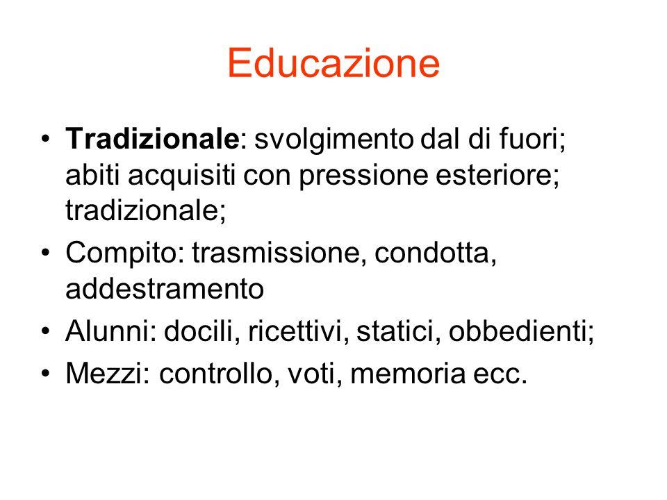 Educazione Tradizionale: svolgimento dal di fuori; abiti acquisiti con pressione esteriore; tradizionale;