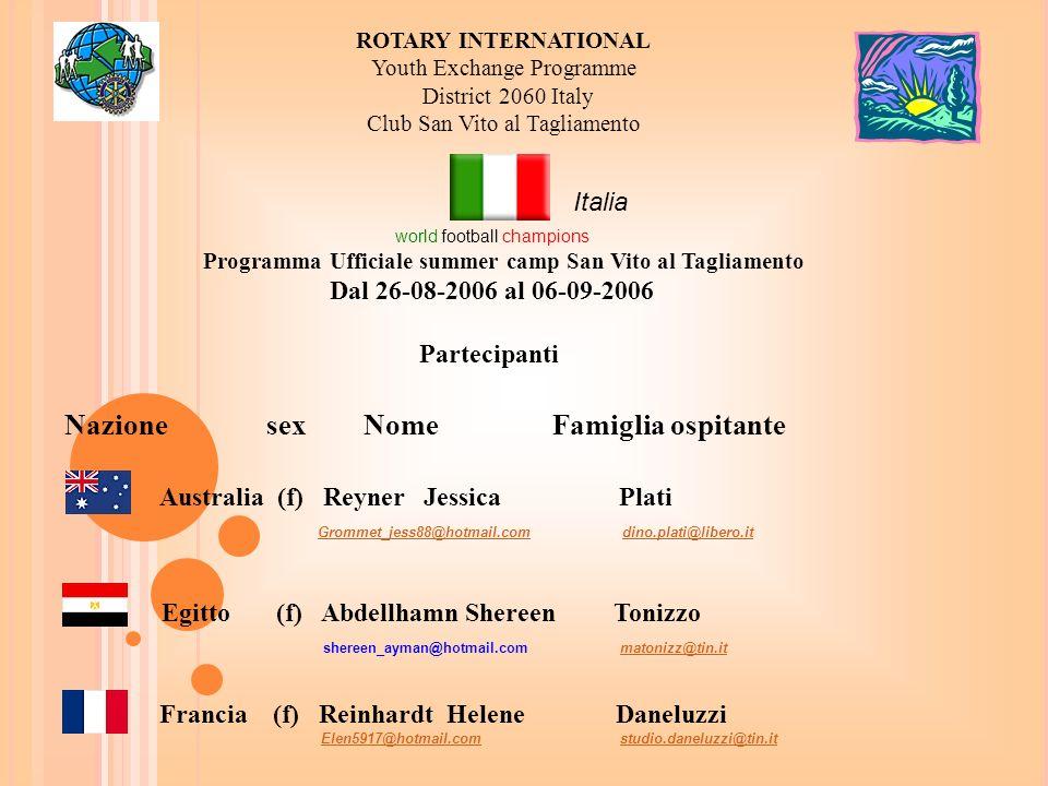 Programma Ufficiale summer camp San Vito al Tagliamento