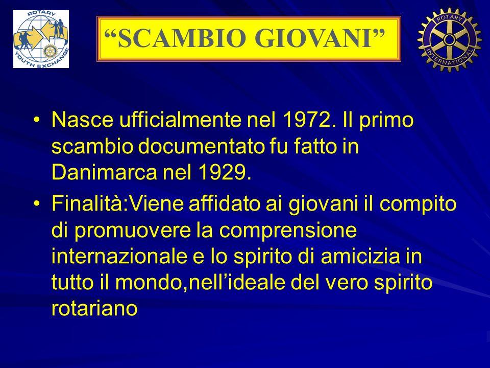 SCAMBIO GIOVANI Nasce ufficialmente nel 1972. Il primo scambio documentato fu fatto in Danimarca nel 1929.