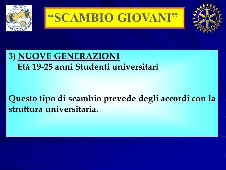 SCAMBIO GIOVANI 3) NUOVE GENERAZIONI