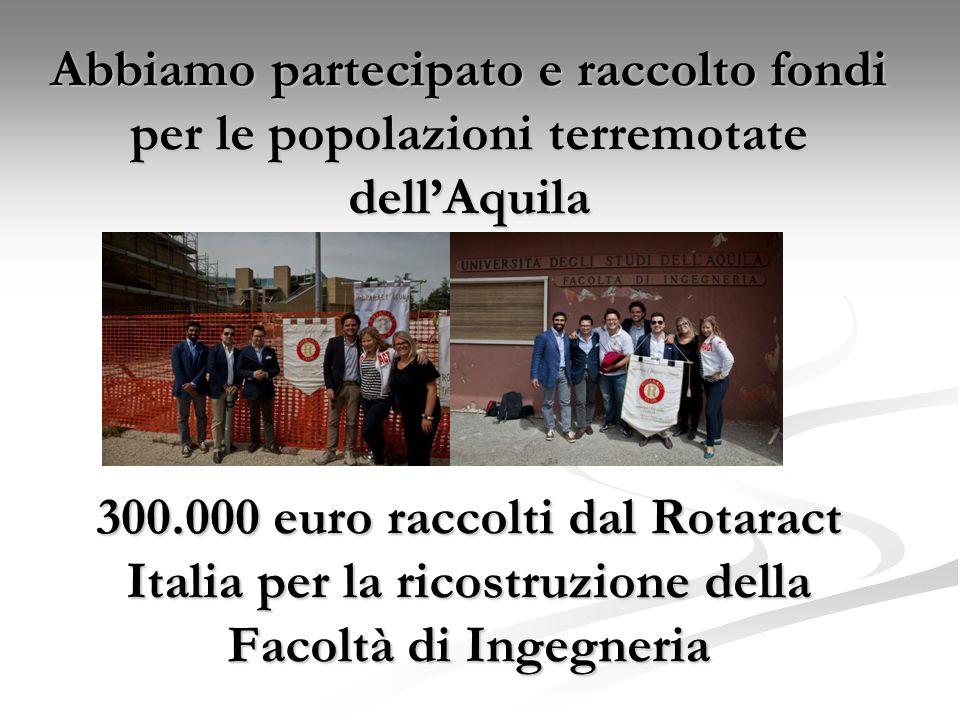 Abbiamo partecipato e raccolto fondi per le popolazioni terremotate dell'Aquila 300.000 euro raccolti dal Rotaract Italia per la ricostruzione della Facoltà di Ingegneria