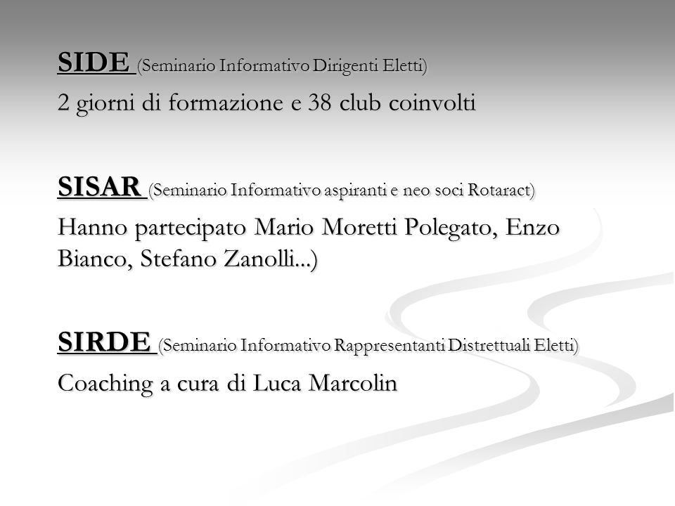 SIDE (Seminario Informativo Dirigenti Eletti)