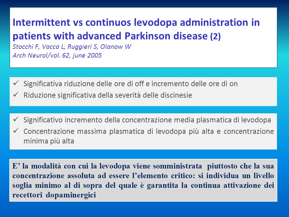 Intermittent vs continuos levodopa administration in patients with advanced Parkinson disease (2) Stocchi F, Vacca L, Ruggieri S, Olanow W Arch Neurol/vol. 62, june 2005