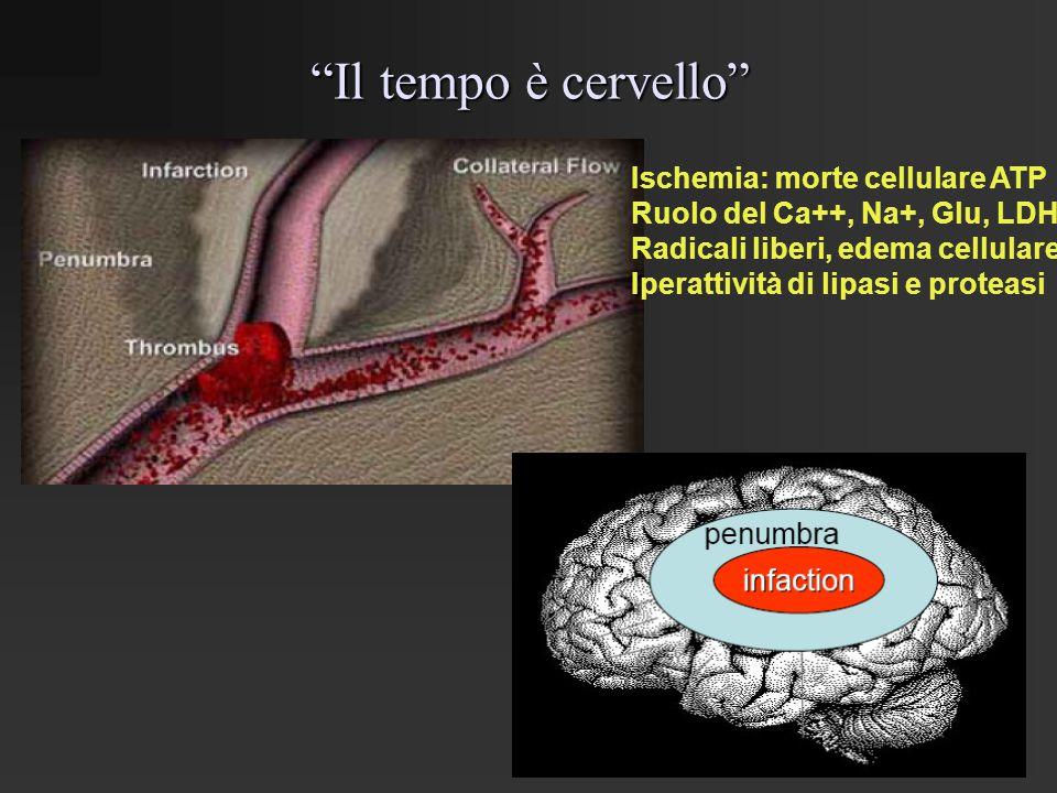 Il tempo è cervello Ischemia: morte cellulare ATP