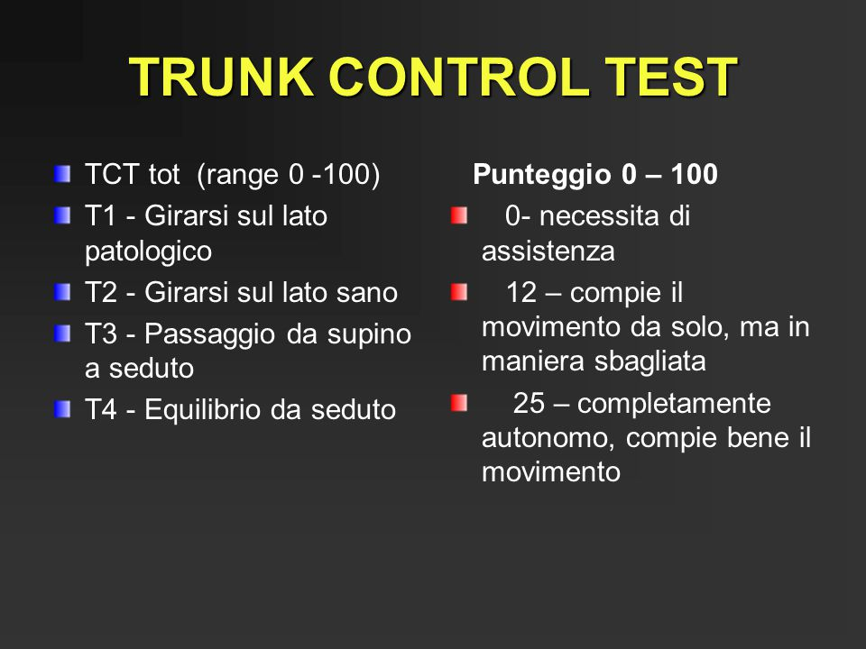 TRUNK CONTROL TEST TCT tot (range 0 -100)