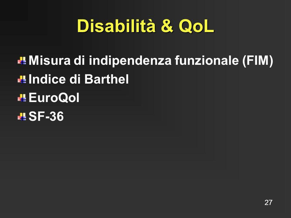 Disabilità & QoL Misura di indipendenza funzionale (FIM)