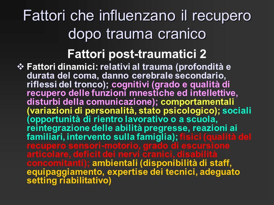 Fattori che influenzano il recupero dopo trauma cranico
